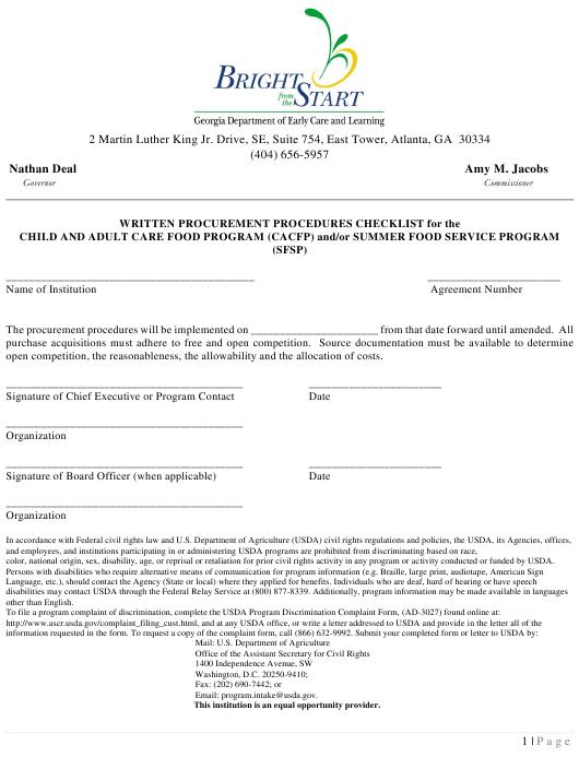 """""""Written Procurement Procedures Checklist for the Child and Adult Care Food Program (CACFP) and/or Summer Food Service Program (Sfsp)"""" - Georgia (United States) Download Pdf"""