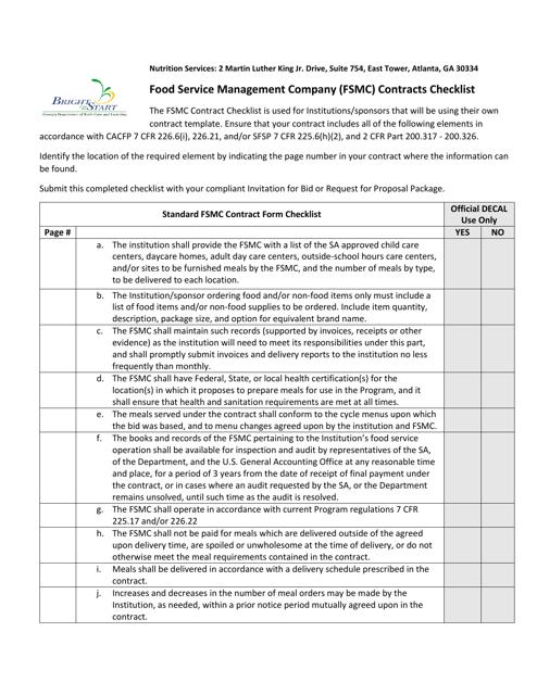 """Food Service Management Company (Fsmc) Contracts Checklist"" - Georgia (United States) Download Pdf"