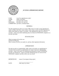 """Juvenile Apprehension Report Form"" - Georgia (United States)"