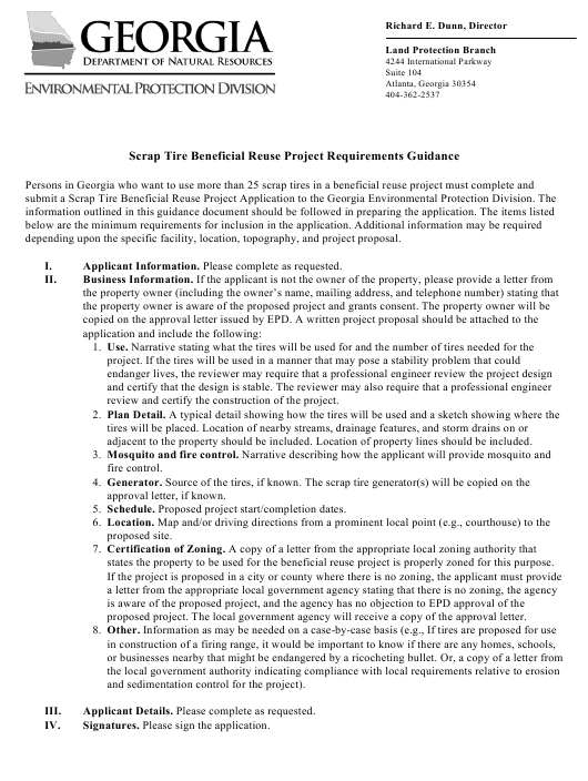 """Instructions for """"Scrap Tire Beneficial Reuse Project Application Form"""" - Georgia (United States) Download Pdf"""