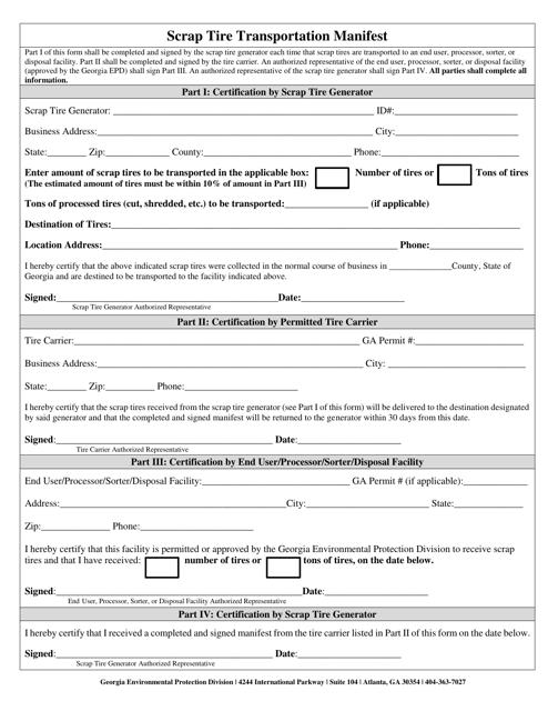 """Scrap Tire Transportation Manifest"" - Georgia (United States) Download Pdf"