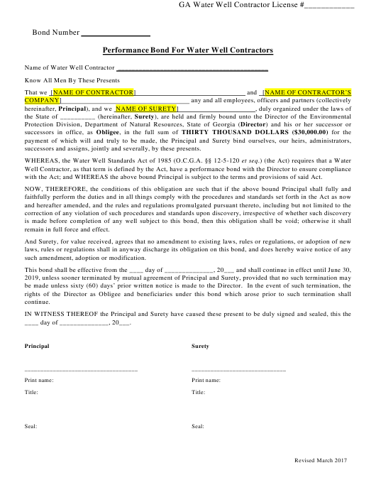 """""""Performance Bond for Water Well Contractors"""" - Georgia (United States) Download Pdf"""
