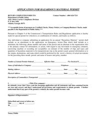 """""""Application for Hazardous Material Permit"""" - Georgia (United States)"""