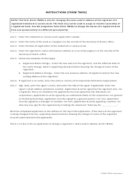 "Form TM04 ""Trademark or Service Mark Registrant Name and/or Address Change"" - Georgia (United States)"