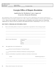 """Application for Mediation Course Approval General or Domestic Relations"" - Georgia (United States)"
