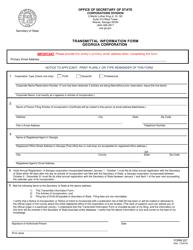 "Form 227 ""Transmittal Information Form - Georgia Corporation"" - Georgia (United States)"