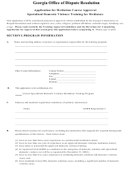 """Application for Mediation Course Approval Specialized Domestic Violence Training for Mediators"" - Georgia (United States)"