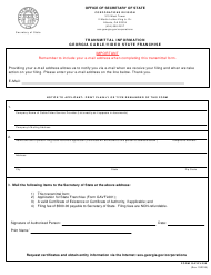 "Form GAVFL250 ""Transmittal Information - Georgia Cable/Video State Franchise"" - Georgia (United States)"