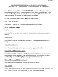 """Instructions for Form S """"Fb 19-21 Budget Department Summary of Proposed Cip Lapses and New Cip Requests"""" - Hawaii, 2021"""