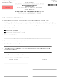 "Form FLP-1 ""Application for Certificate of Authority for Foreign Limited Partnership"" - Hawaii"