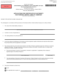 "Form FLLC-1 ""Application for Certificate of Authority for Foreign Limited Liability Company"" - Hawaii"