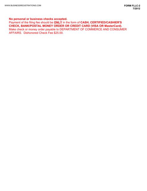 Form FLLC-2 Fillable Pdf