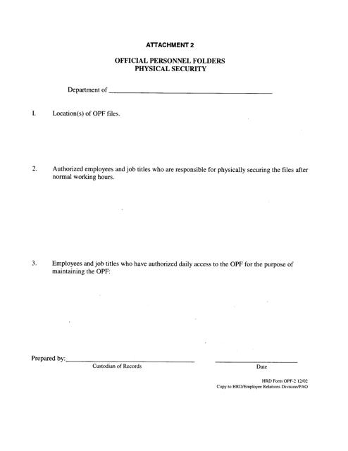 HRD Form OPF-2 Attachment 2  Printable Pdf