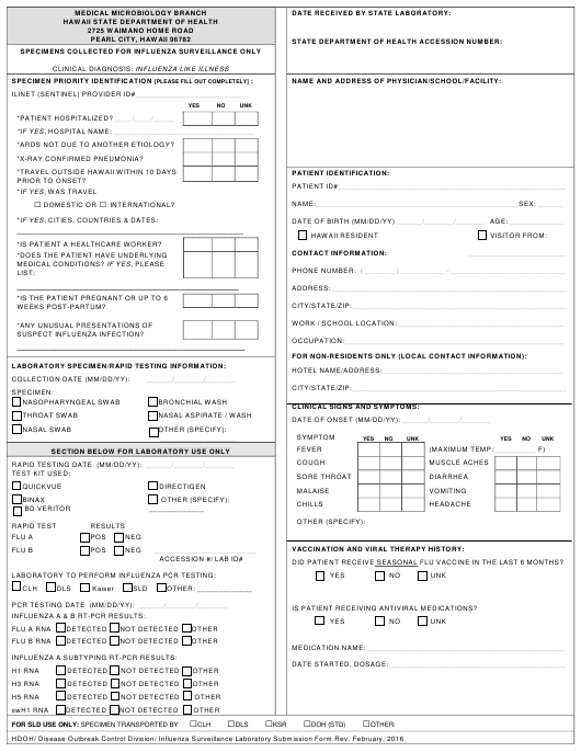 """Influenza Surveillance Laboratory Submission Form"" - Hawaii Download Pdf"