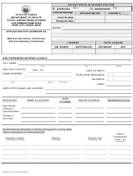 "Form MS/WD-MLT ""Application for Licensure as Medical Laboratory Technician (Clinical Laboratory Technician)"" - Hawaii"