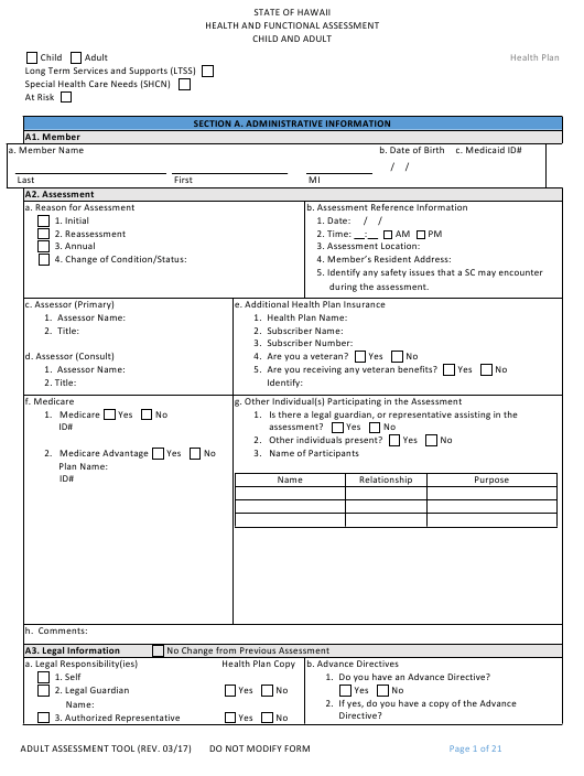 """""""Child and Adult Health and Functional Assessment Form"""" - Hawaii Download Pdf"""