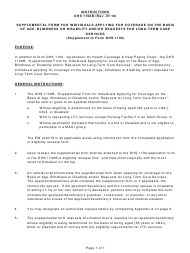 """Instructions for Form DHS1100B """"Supplemental Form for Individuals Applying for Coverage on the Basis of Age, Blindness or Disability and/Or Requests for Long-Term Care Services (Supplement to Form DHS 1100)"""" - Hawaii"""