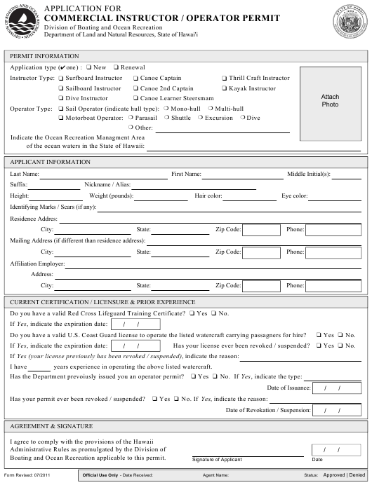 Application for Commercial Instructor / Operator Permit - Hawaii Download Pdf