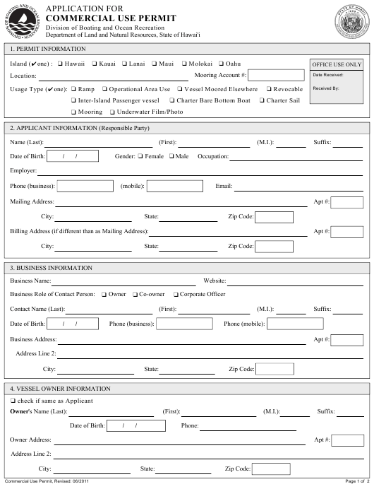 Application for Commercial Use Permit - Hawaii Download Pdf
