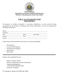 """Public Auction Mailing Form - Oahu District"" - Hawaii"