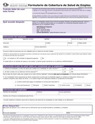 Form HW 2017S Formulario De Cobertura De Salud De Empleo - Idaho
