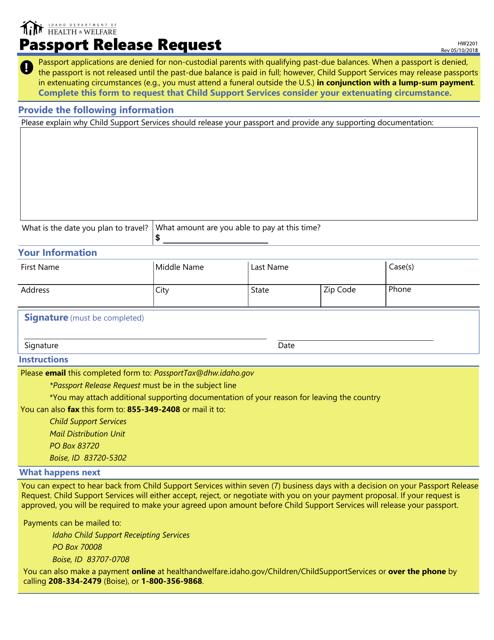 Form HW 2201 Printable Pdf