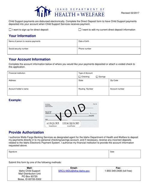 Direct Deposit Form - Idaho Download Pdf