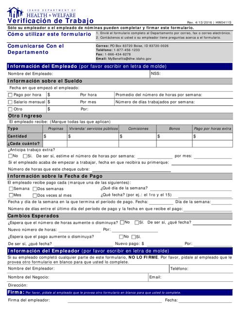Form HW 0411S Printable Pdf