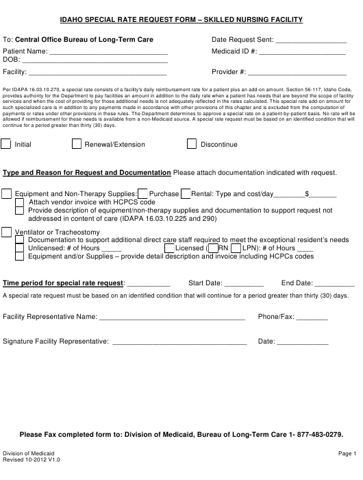 """""""Idaho Special Rate Request Form - Skilled Nursing Facility"""" - Idaho Download Pdf"""