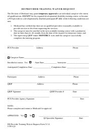 DD Provider Training Waiver Request Form - Idaho