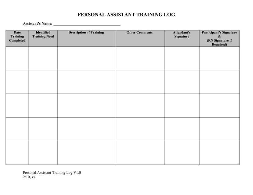 Personal Assistant Training Log - Idaho Download Pdf