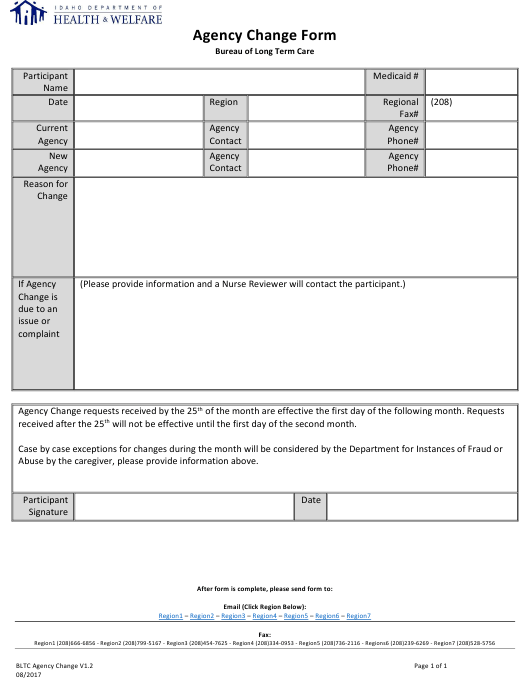 Agency Change Form - Idaho Download Pdf