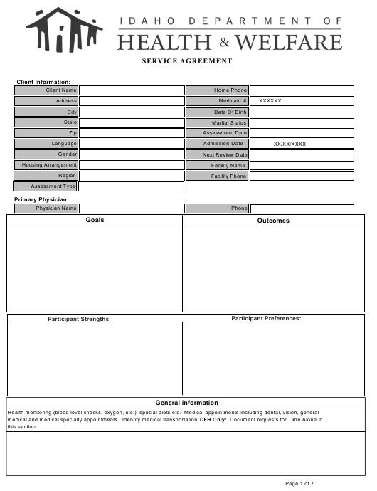 Service Agreement Form - Idaho Download Pdf
