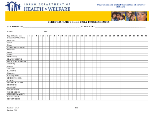 """Certified Family Home Daily Progress Notes"" - Idaho Download Pdf"