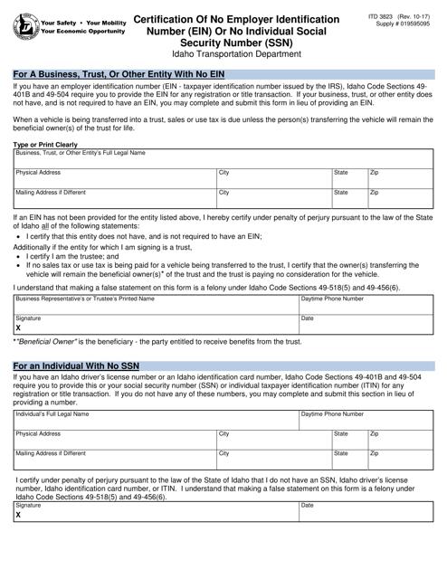 Form ITD 3823 Fillable Pdf
