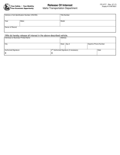 Form ITD 3777 Fillable Pdf