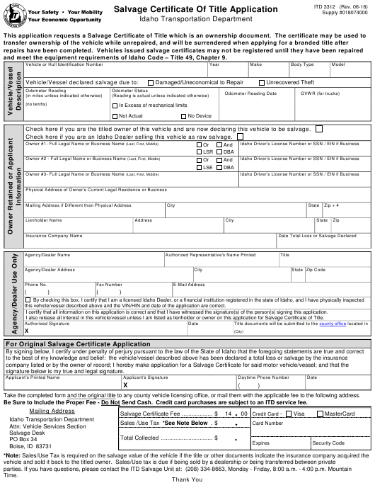 Form ITD 3312 Fillable Pdf