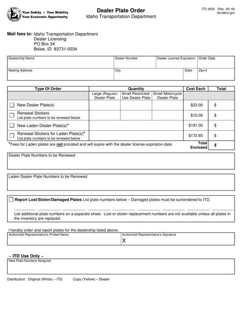 Form ITD 3635 Fillable Pdf