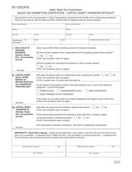 Form ST-133CATS Form Efo00197, Sales Tax Exemption Certificate - Capital Asset Transfer Affidavit - Idaho