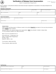 Form ITD 3094 Verification of Release From Incarceration - Idaho