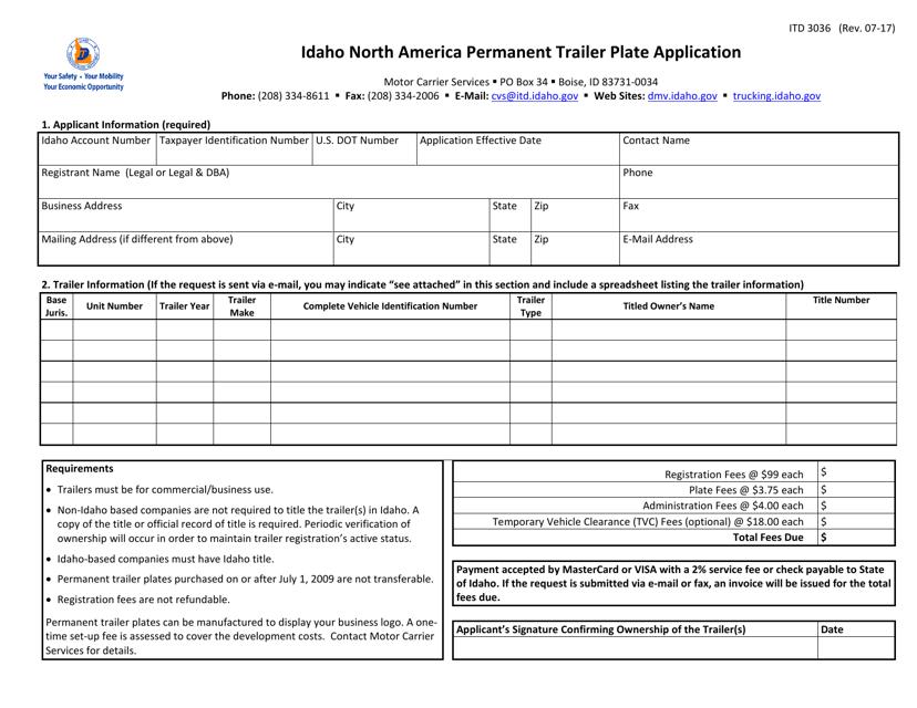 Form ITD 3036 Printable Pdf