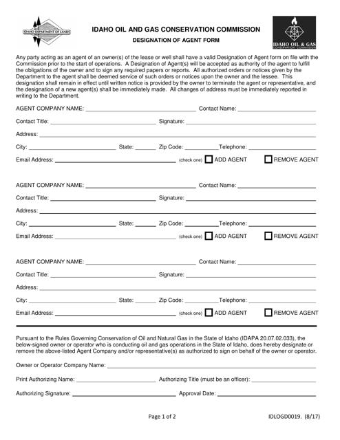 Form IDLOGD 0019 Printable Pdf