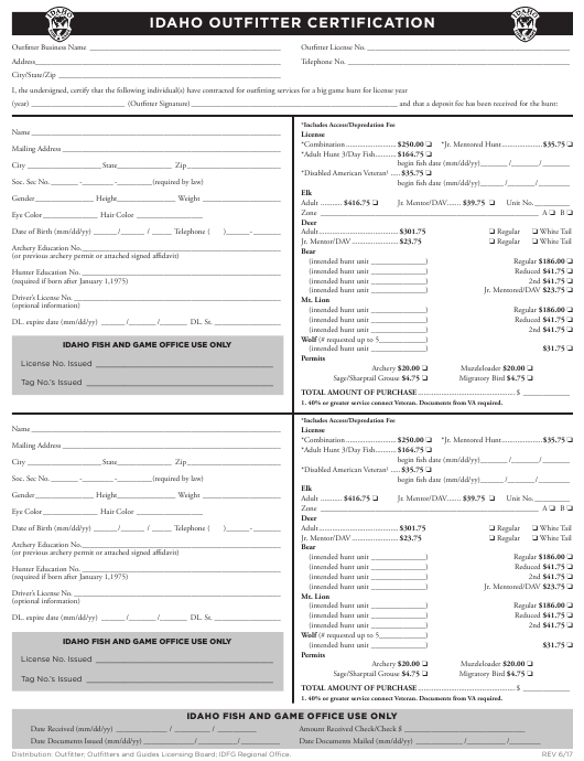 """""""Idaho Outfitter Certification Form"""" - Idaho Download Pdf"""