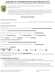 """Application for a Disabled Veterans Special Big Game Hunt"" - Idaho"