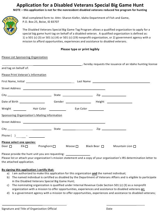 """""""Application for a Disabled Veterans Special Big Game Hunt"""" - Idaho Download Pdf"""
