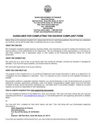 """""""Escrow Complaint Form"""" - Idaho"""