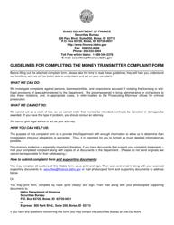 """Money Transmitter Complaint Form"" - Idaho"