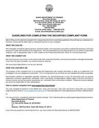 """Securities Complaint Form"" - Idaho"