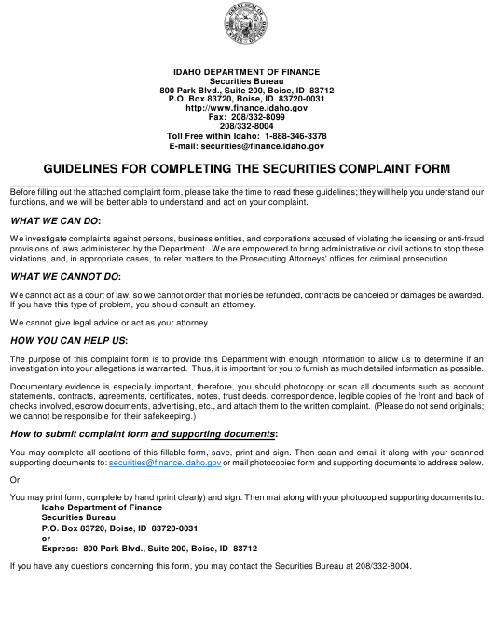 """Securities Complaint Form"" - Idaho Download Pdf"