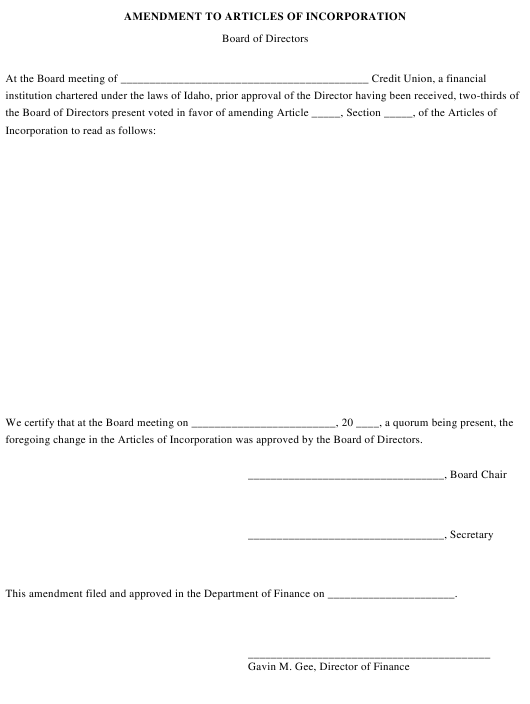 Amendment to Articles of Incorporation - Board of Directors - Idaho Download Pdf